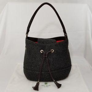 Kate Spade Gregg Wool Leather Handbag Hobo Bucket